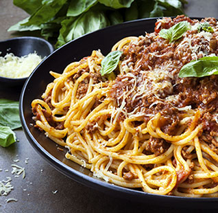 Presenting the bolognese sauce